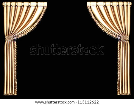 Fancy gold curtains isolated on black background with room for your text