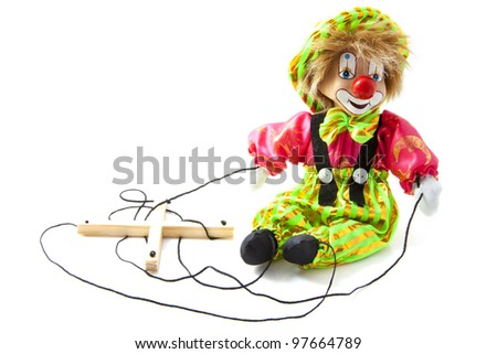 Fancy happy marionette puppet on a white background