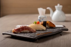 fancy japanese decorate sushi plate