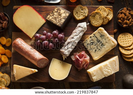 Fancy Meat and Cheeseboard with Fruit as an Appetizer