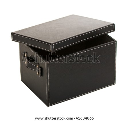 fancy open black leather box over white background