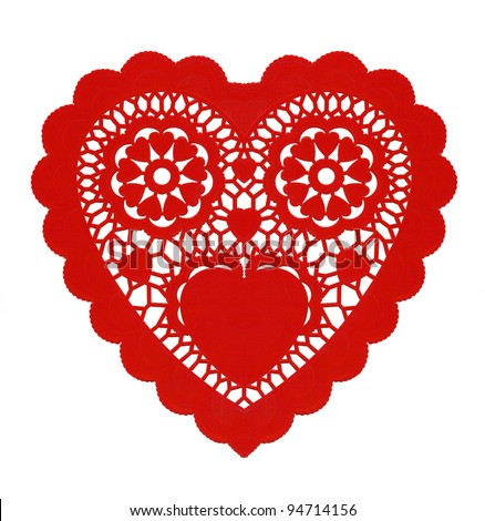 Fancy Paper Red Heart Doily isolated on white background