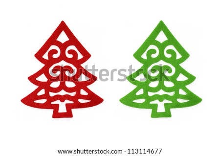 Fancy red and green felt Christmas tree isolated on a white background