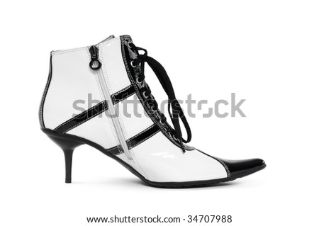 Fancy retro high heel footwear isolated on white background