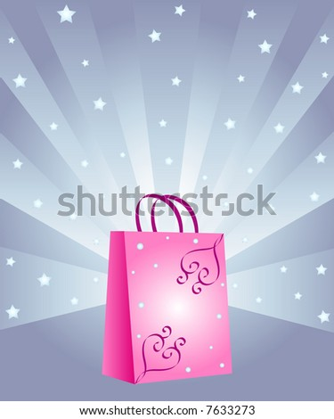 Fancy shopping bag with rays and stars