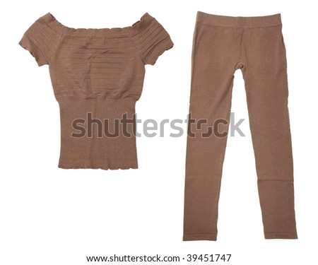 Fancy stretchy pants and a sleeveless shirt isolated on white background