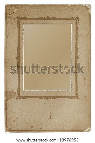 Fancy studio photo mount, dating from the 1920's.  Isolated on white, with clipping path included.