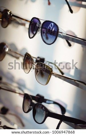 Fancy sunglasses in a store.