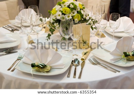 stock photo Fancy table set for a wedding dinner