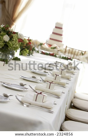 Fancy table setting during a wedding. Shallow depth of field