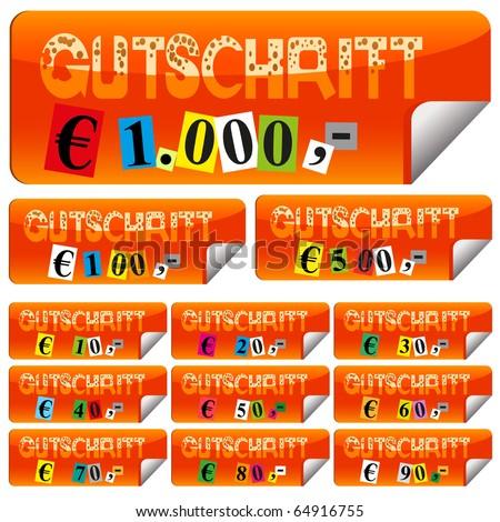 fancy token in orange from ten euro to hundred, five hundred, thousand