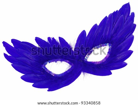 Fancy Vintage Blue Feathers with Sequin dress mask isolated on white background