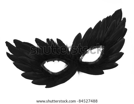 Fancy Vintage Festive Black Feathers with Sequin dress mask isolated on white background