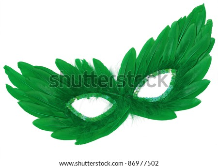 Fancy Vintage Festive Green Feathers with Sequin dress mask isolated on white background