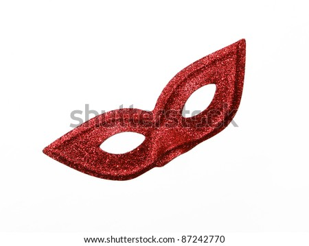 Fancy Vintage Festive Red Glitter dress mask isolated on white background