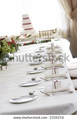 stock photo Fancy wedding table set for fine dining shallow depth of