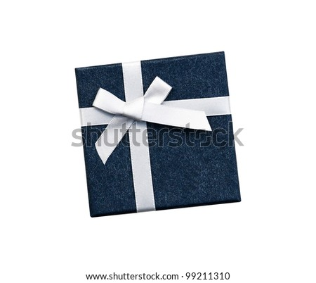 Fancy white ribbon gift bow on blue gift box isolated on white background