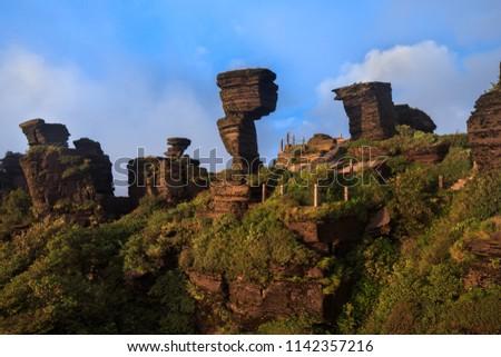 Fanjingshan, Mount Fanjing Nature Reserve - Sacred Mountain of Chinese Buddhism in Guizhou Province, China. UNESCO World Heritage List - China National Parks, Mushroom Stone Scenic Area, Strange Rocks