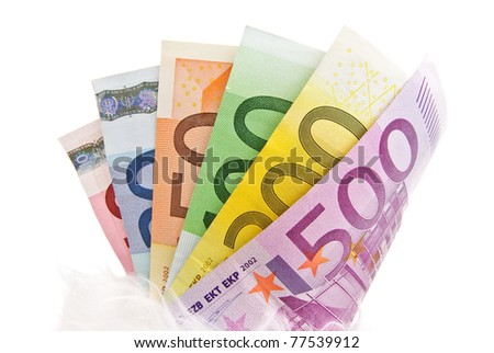 Fanned multicolored euro banknotes isolated on a white background