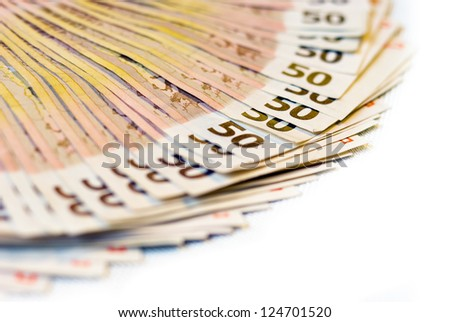 fanned out  banknotes 50 Euro / 3500 Euro on white