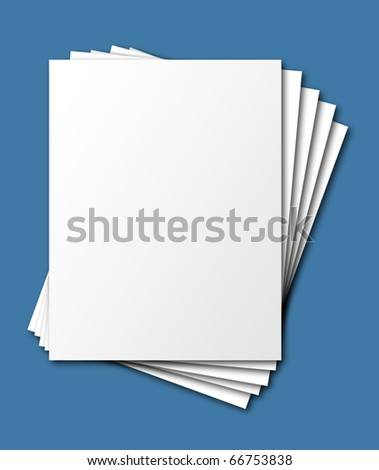 Fanned, stacked blank papers, isolated with shadow and clipping path