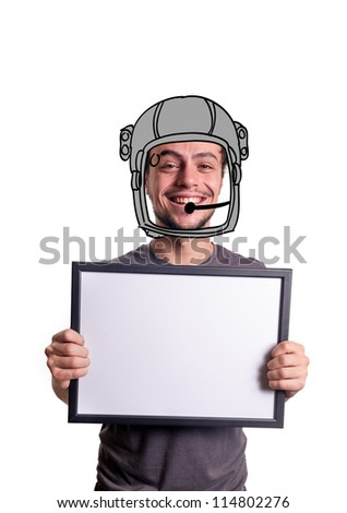 fanny smiling guy showing sign with astronaut helmet on white background