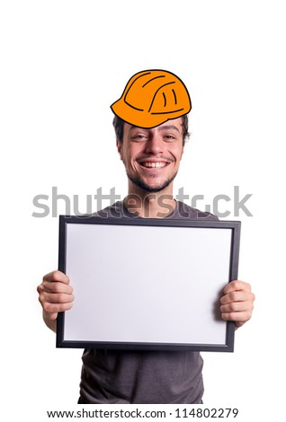 fanny smiling guy showing sign with helmet worker on white background
