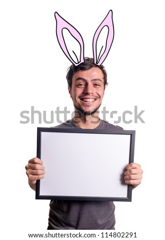 fanny smiling guy showing sign with pink bunny ears on white background