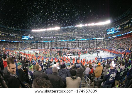 Fans at MetLife Stadium in East Rutherford New Jersey watch the Vince Lombardi Trophy presentation of Super Bowl XLVIII on Feb 2 2014 after the Seattle Seahawks defeated the Denver Broncos 43-8