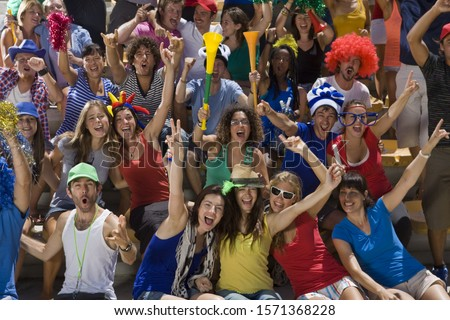 Fans at soccer game in Cape Town, South Africa