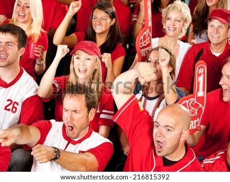 Fans: Baseball Fans Cheer When Team Gets A Hit