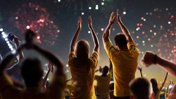 Fans celebrate in Stadium Arena night fireworks High quality photo