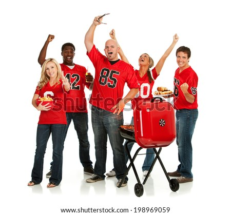stock photo: group of football fans tailgating