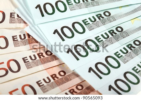 Fans made of euro banknotes - stock photo