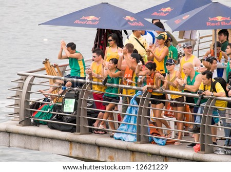 Fans of the Australian team cheering their victorious team, an event held in Singapore on 10 May 2008