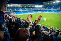 Fans on football, soccer stadium game