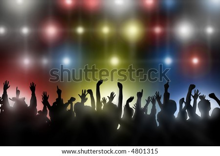 stock photo : Fans raise their hands at concert