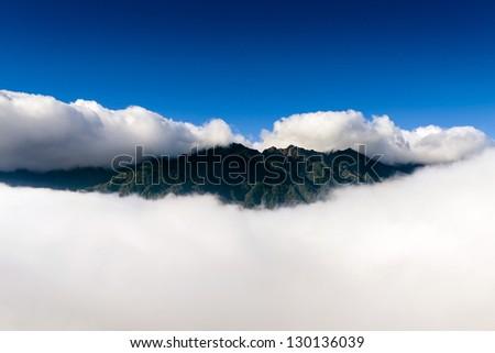 Fansipan, Fan Si Pan or Phan Xi Pang mountain the highest mountain in Indochina at Sapa , Vietnam - stock photo