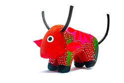 Fantastic and colorful bull alebrije from Mexico