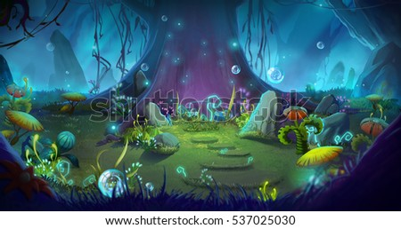 Stock Photo Fantastic and Magical Forest. Video Game's Digital CG Artwork, Concept Illustration, Realistic Cartoon Style Background