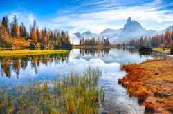 Fantastic autumn landscape. View on Federa Lake early in the morning at autumn. Location: Federa lake with Dolomites peak, Cortina DAmpezzo, South Tyrol, Dolomites, Italy, Europe