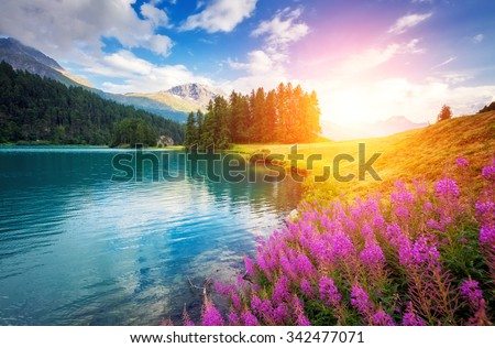Stock Photo Fantastic azure alpine lake Champfer. Unusual and picturesque scene. Location famous resort Silvaplana village, district of Maloja in the Swiss canton of Graubunden, Alps. Europe. Beauty world.