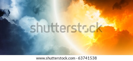 Fantastic background - bright light from clouds