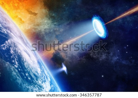Fantastic background - UFO shines spotlight on planet Earth, secret experiment, climate change, climatic weapon, star wars. Elements of this image furnished by NASA nasa.gov
