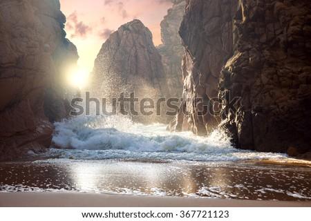 Fantastic big rocks and ocean waves at sundown time. Dramatic scene. Beauty world landscape. #367721123
