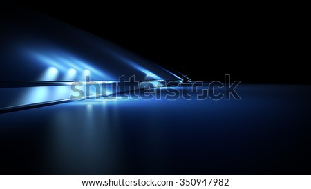 Fantastic blue background with spotlights