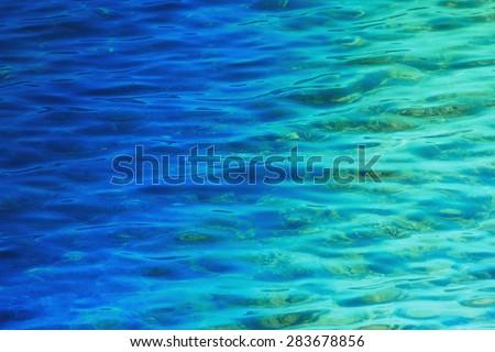 Fantastic blue sea background. Mediterranean Sea, Montenegro, Europe. Beauty world.