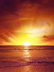 Fantastic bright sunset over ocean