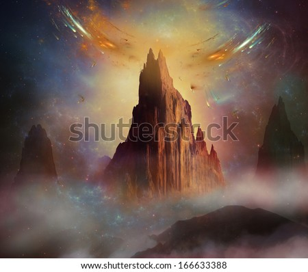 Fantastic castle in the sky and floating bridge with a bird