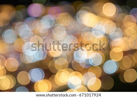 Fantastic circular bokeh ball of city night light as a blurry background